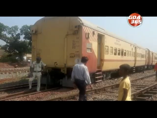 2 bogeys of route testing train derail at Curchorem; luckily no injuries