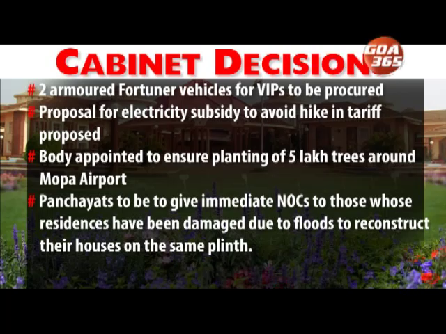 Electricity subsidies, tree plantation at Mopa - some cabinet decisions taken today