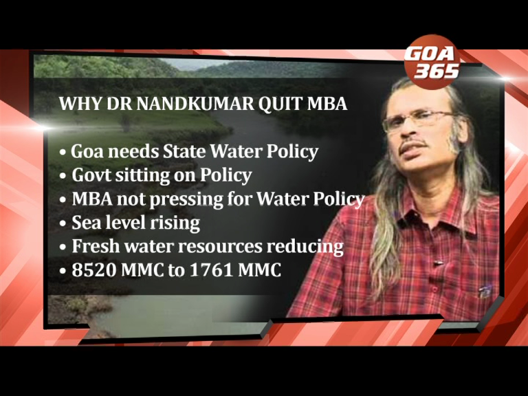 Dr Nandkumar quits MBA over Mhadei, demands Water Policy