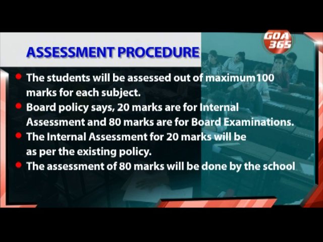 Goa Board has issued a procedure for assessment of  students marks