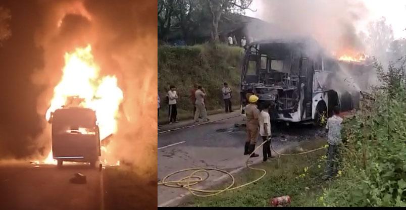 Mumbai-Goa bus caught fire, passengers survive