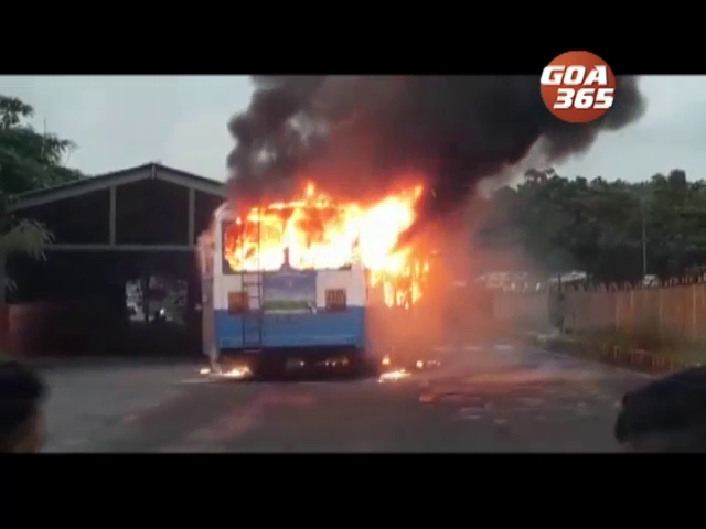 Bus catches fire at Bandora; loss worth Rs1.5 lakh