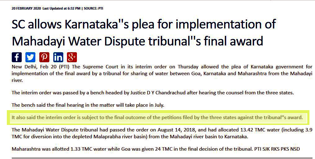 SC passes interim order on Mhadei, Karnataka says it's relief, Goa says NO