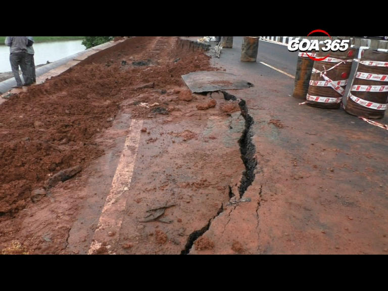 Newly constructed road cracks under Monsoon onslaught