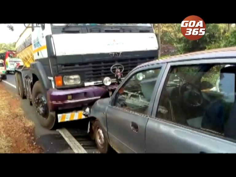 Lucky escape for mother, son after truck hits car