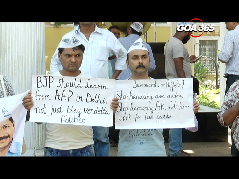 AAP Goa protest against BJP harassment to Delhi Govt