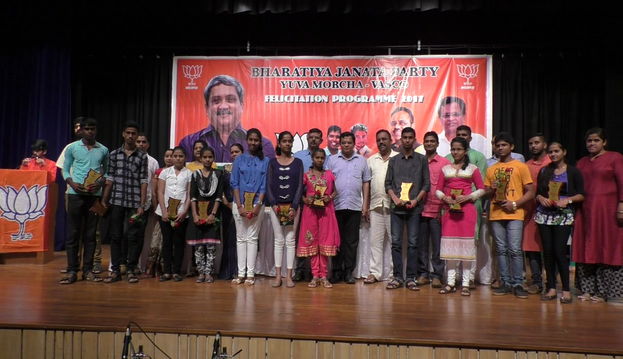 BJP Yuva morcha felicitates students and artists