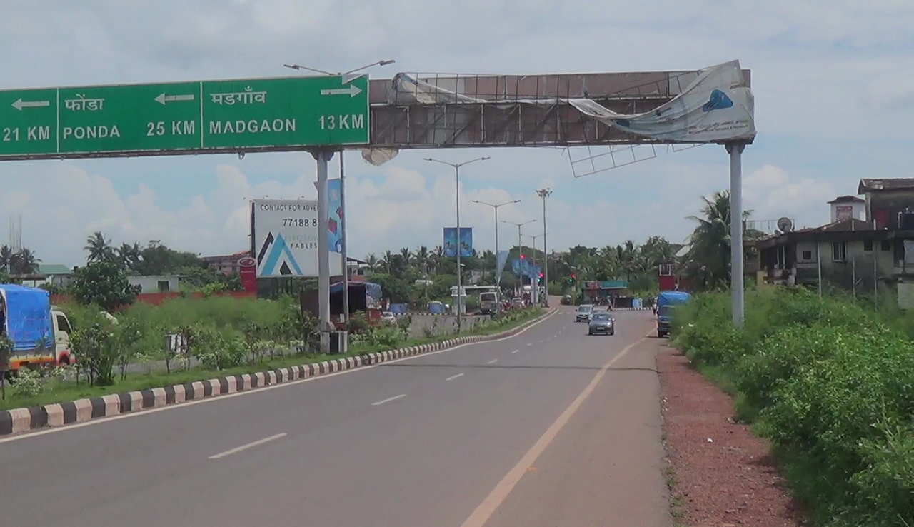 Broken signboard poses danger to public near airport