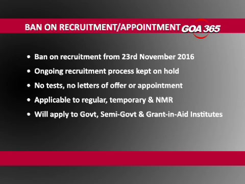 Goa Govt bans recruitments, appointments till election