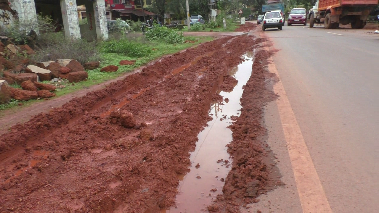 Dumped mud makes national highway slippery