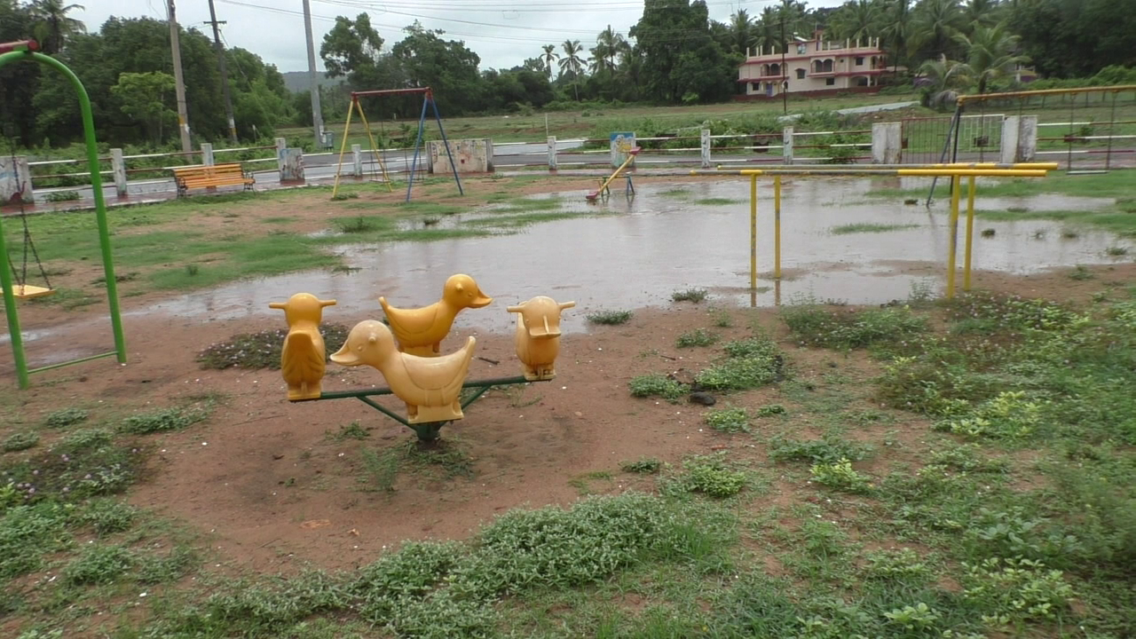 Children's Park of Sirlim floating in rain water